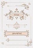 вектор комплекта сердец шаржа приполюсный Винтажное украшение страницы, каллиграфические элементы, рамки вектор Стоковые Фотографии RF