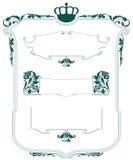 вектор комплекта сердец шаржа приполюсный Heraldic рамка с заводами, оружием и экраном Стоковое Фото
