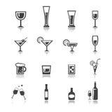 вектор комплект значка питья Стоковое Изображение RF