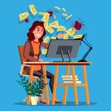 Вектор концепции вируса спама Женщина Технология интернета Онлайн нападение почты Данные по мотыги Злодеяние сети Электронная поч Стоковое Фото