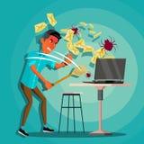Вектор концепции вируса спама человек Безопасность интернета Хакер онлайн Защита данных Безопасность кибер Сигнал тревоги электро Стоковые Изображения