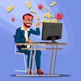 Вектор концепции вируса спама человек Технология интернета Онлайн нападение почты Данные по мотыги Злодеяние сети Электронная поч Стоковое Изображение