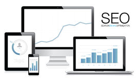 Вектор концепции оптимизирования поисковой системы (SEO) Стоковая Фотография RF