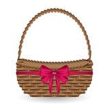 Вектор корзины подарка и украшает ленту смычка бесплатная иллюстрация