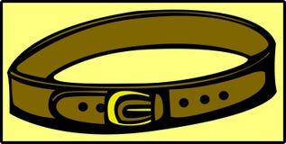 вектор коричневой пряжки пояса золотистый кожаный Стоковое Изображение