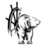 Вектор кормила матроса и корабля полярного медведя Стоковое Фото