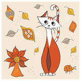 вектор кота милый Стоковое Изображение