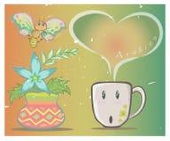 Вектор кофейной чашки и бабочки Стоковое фото RF