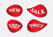 Вектор Красного знамени, шаблон знамени продажи, объезжает изолированную квартиру, ярлыки, стикеры, бирки, скидку, вектор значка Стоковые Изображения RF