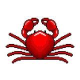 Вектор красного краба искусства пиксела детальный Иллюстрация штока