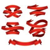 вектор красного цвета знамен установленный Стоковые Изображения