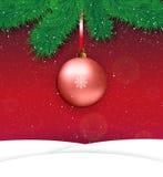вектор красного цвета иллюстрации рождества шарика предпосылки Стоковое Фото