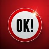 Вектор красного цвета одобренной кнопки Стоковое Изображение