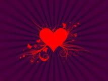 вектор красного цвета сердца листва Стоковые Фото