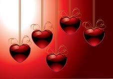 вектор красного цвета сердец Стоковые Фото
