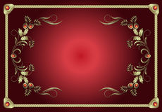 Вектор красной рамки флористический Стоковое Фото