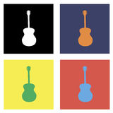 Вектор красочной гитары установленный Стоковое Изображение
