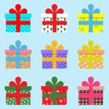 Вектор красочных подарочных коробок плоский для с Рождеством Христовым Бесплатная Иллюстрация