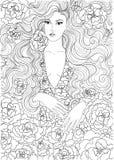 Вектор крася красивую девушку в зацветенном платье иллюстрация вектора