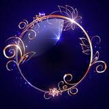 Вектор, круглый лоснистый ярлык с оправой золота Стоковая Фотография