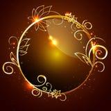 Вектор, круглый лоснистый ярлык с оправой золота Стоковые Фотографии RF