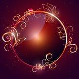 Вектор, круглый лоснистый ярлык с оправой золота Стоковые Фото