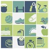 Вектор клуба фитнеса и здоровья установленный значками Стоковые Фото