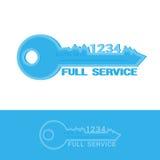 вектор Ключ логотипа цифровой для предприятия службы быта логотипа дизайна или значок сети на местах изолированных на белой предп Стоковое Изображение RF