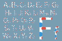 вектор латыни индикатора иллюстрации алфавита Дизайн шрифта концепции вектор иллюстрации самомоднейший Стоковое Изображение RF