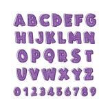 вектор латыни индикатора иллюстрации алфавита Шрифт ` s детей в милом ярком стиле шаржа цвета Стоковая Фотография RF
