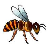 Вектор летания искусства пиксела детализированный пчелой изолированный Иллюстрация штока