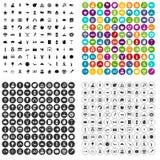 100 вектор летних отпусков установленный значками различный Стоковое Изображение RF