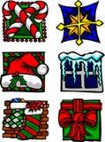 вектор логосов икон праздника рождества иллюстрация штока