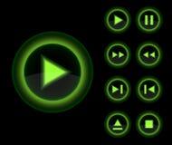 вектор лоснистого зеленого игрока кнопок 3d установленный Стоковое Фото