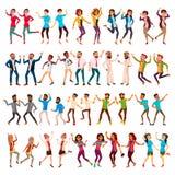 Вектор людей танцев установленный Праздновать танцы Танцуя люди двигают Партия каникул праздника Люди слушая к музыке иллюстрация штока