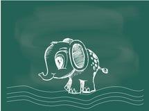 Вектор мамонтового чертежа на меле классн классного Стоковое Изображение