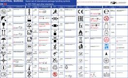 Вектор маркировки пакета установил должностное лицо 50 ПК ISO 7000 упаковывает регулировать знаки меток символов пакета символов  бесплатная иллюстрация