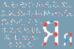 вектор матрицы индикатора иллюстрации алфавита голубой cyrillic Дизайн шрифта концепции Современное illustrat вектора Стоковая Фотография