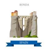 Вектор Малаги Андалусии Испании каньона El Tajo моста Ronda плоский иллюстрация вектора