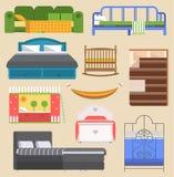 Вектор мебели кровати спать конструирует спальню с релаксацией кровати вида с воздуха и внутренней комнаты удобной домашней иллюстрация вектора