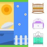 Вектор мебели спать конструирует комнаты кровати спальни оформление квартиры релаксации исключительной внутренней удобное домашне бесплатная иллюстрация