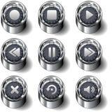 вектор медиа-проигрывателя иконы кнопок установленный Стоковые Фотографии RF