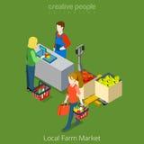 Вектор местной продажи продовольственного магазина рынка фермы ходя по магазинам плоский равновеликий иллюстрация вектора