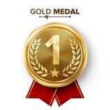 Вектор медали места золота 1-ый Значок металла реалистический с первым достижением размещения Круглый ярлык с красной лентой, лав иллюстрация вектора
