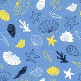 вектор морской картины иллюстрации безшовный Стоковое Изображение RF