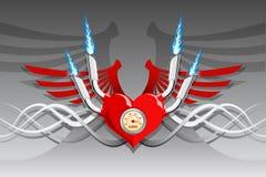 вектор мотора сердца предпосылки ретро серебряный Стоковое Изображение