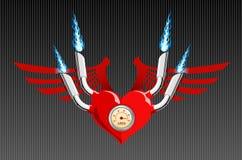 вектор мотора сердца ретро Стоковое Изображение RF