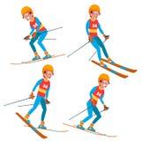 Вектор мужчины игрока катания на лыжах Лыжный курорт остатков деятельностям при зимы Изолированная плоская иллюстрация персонажа  бесплатная иллюстрация