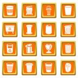 Вектор мусорного бака установленный значками оранжевый квадратный Стоковое Фото