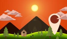 Вектор навигации горы вечера ландшафта Стоковые Фотографии RF